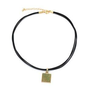 Fashion green square crystal original necklace
